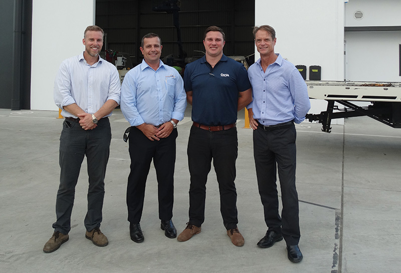 Below left to right: Stuart Bennett, Owner of AAH; Pat Italiano, CEO of AAH; Mike Podziewski, Genie Northern NSW Regional Manager, Terex AWP; Brad Lawrence, Genie General Manager, Terex AWP.