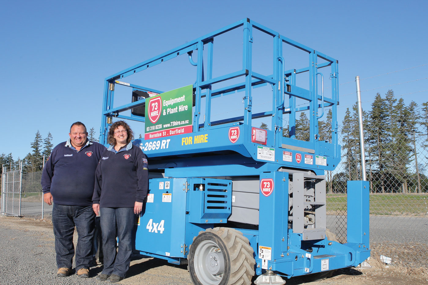 73 HIRE IS A YOUNG EQUIPMENT HIRE BUSINESS, Les Barnett and Catherine Field  Terx genie